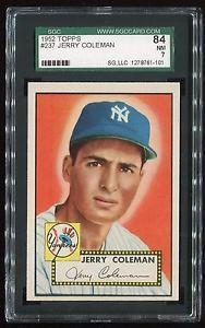 1952 Topps 237 Jerry Coleman N Y Yankees SGC 84 NM Cert 1278761 101