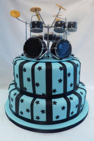 ... Drummers Birthday Cake, Happy Birthday, Drums Music Cake, Cake Design