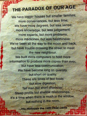 Favourite Quotes: The Paradox Of Our Age