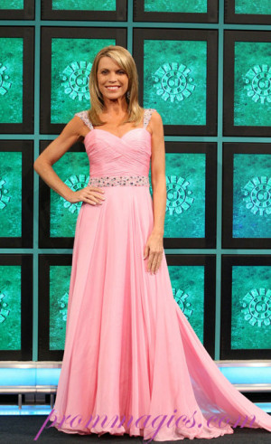 Sweetheart Vanna White Beading Chiffon Floor Length Celebrity Dress