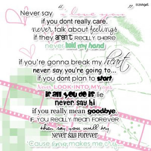 English Poem: Never Say I Love You…
