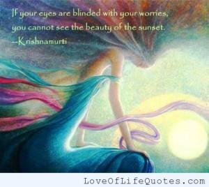 Krishnamurti quote on worrying