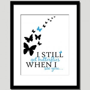 ... clearance-whimsical dreamy i still get butterflies quote paper print