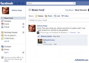 johnny depp plane crash rum diary fake facebook fakebook
