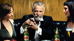 Still of man in bar with two ladies taken from Dos Equis advertisement