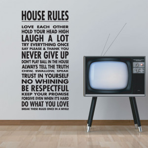 ... Design Marketplace / House Rules Wall Quote Sticker by Abode Wallart