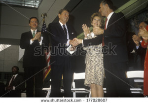 ... governor George Deukmejian applaud Ronald Reagan - stock photo