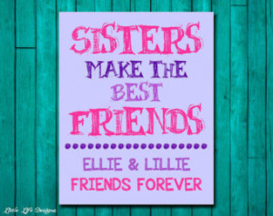 Little Girls Wall Art. Children' ;s Wall Art. Sisters Make the Best ...
