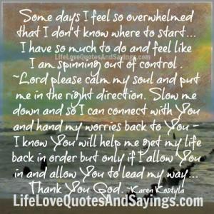 Some days I feel so overwhelmed ..