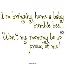 Bringing Home Baby Bumble Bee Vinyl Sticker Saying Quote