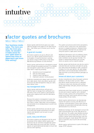 factor quotes and brochures SELL SELL SELL Your business