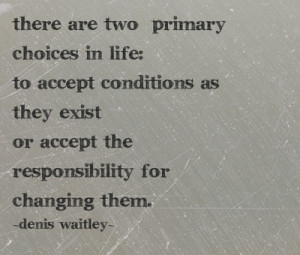 ... exist or accept the responsibility for changing them. - Denis Waitley
