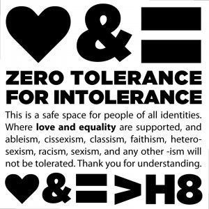 Love & Equality: Zero Tolerance For Intolerance [BADGE]