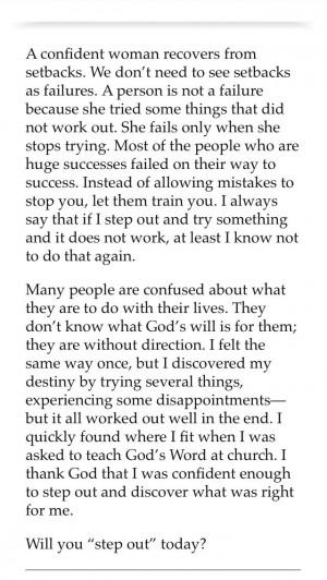 Confident Woman Joyce Meyers #faith #stepout #tryagain