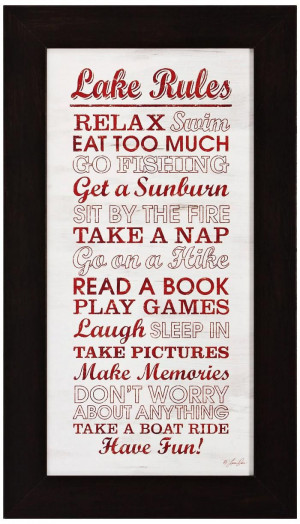 Lakeside Quote Wall Art -: Lakes Quotes, Quotes Wall, Cabin Rules Wall ...