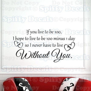 WINNIE THE POOH LIVE TO BE 100 WITHOUT YOU Quote Vinyl Wall Decal ...