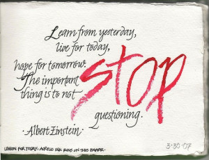 not to stop-Einstein quote,' visual journaling by tricia