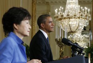 South Korea's President Park Geun-hye and U.S. President Barack Obama ...