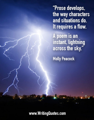 ... » Molly Peacock Quotes - Poem Lightning - Writing Poetry Quotes