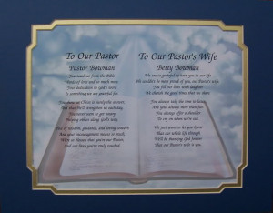 Pastor & Pastor's Wife Personalized Poem Appreciation