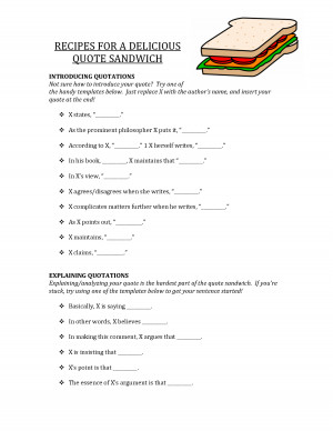 Quote Sandwich Template