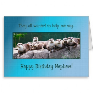 Nephew Birthday with otters Greeting Cards