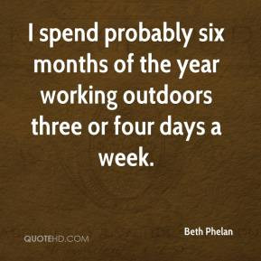 Beth Phelan - I spend probably six months of the year working outdoors ...