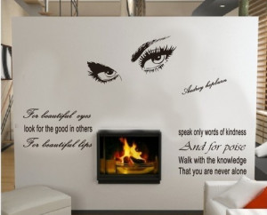 quote wall sticker - removable wall decal - Hepburn's sexy eyes wall