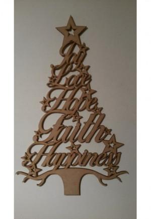 Christmas Word Tree - joy love hope faith happiness
