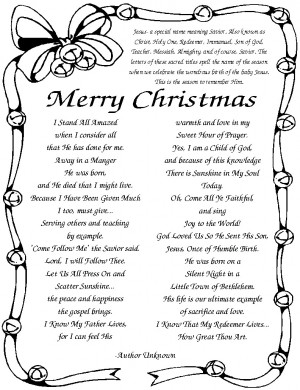 Cute Christmas Poem from Hymns