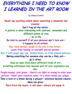 Everything I need to know I learned in the art room More