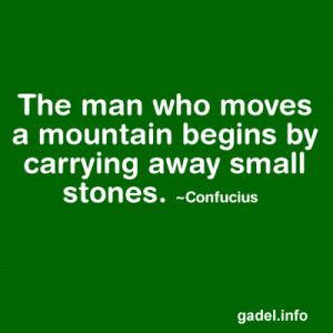... who moves a mountain begins by carrying away small stones. ~Confucius