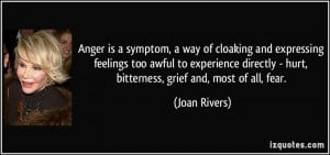 Anger is a symptom, a way of cloaking and expressing feelings too ...