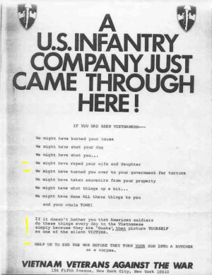 Anti-war flyer by Vietnam veterans