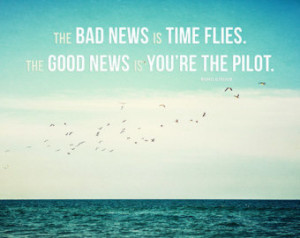 Time Flies Motivational Print, Beach Decor with Typographic Print Wall ...