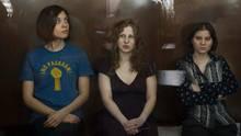 punk group Pussy Riot members, from left, Nadezhda Tolokonnikova ...