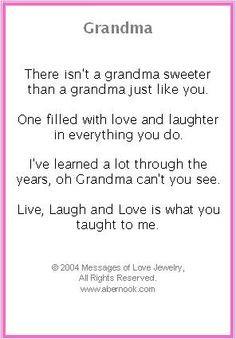 grandma poems | Grandmother Bracelet, Grandma Poem Jewelry More