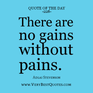 quote of the day, There are no gains without pains.