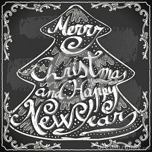 Detailed illustration of a Vintage Merry Christmas and Happy New Year ...