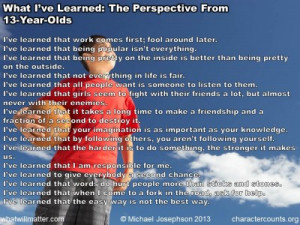 Post image for QUOTE & POSTER: What I've Learned From a 13 Year Old.