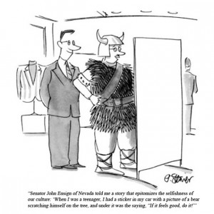 Rick Santorum quotes as New Yorker cartoons.