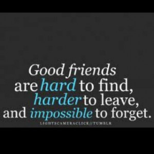 Good friends are hard to find, harder to leave and impossible to ...