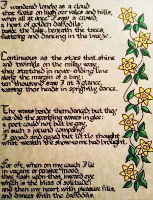 Daffodil Poem in Italian Rotunda Calligraphy