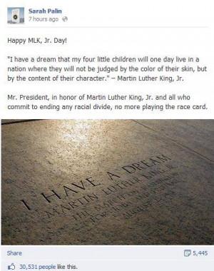 Sarah Palin's Way To Remember MLK Jr.? Stop Talking About Racism ...