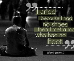 ... as there are so many less fortunate than ourselves.. Thank you Allah