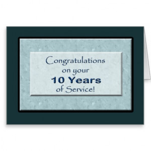 Employee 10 Years of Service Anniversary Cards
