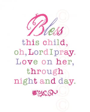 Girl's Art Print Prayer - Bless This Child - Pink Script
