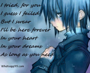 Sweet sad anime boy quote