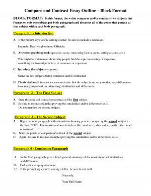 Compare and Contrast Essay Outline Block Format