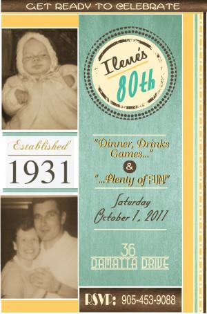 80th Birthday Invitations. 15th Birthday Sayings. View Original ...
